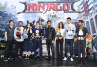 <p>Dan Lin, Michael Peña, Abbi Jacobson, Dave Franco, Justin Theroux, Olivia Munn, Zach Woods, and Kumail Nanjiani with their movie character figures at Comic-Con on July 21, 2017. (Photo: Richard Shotwell/Invision/AP) </p>
