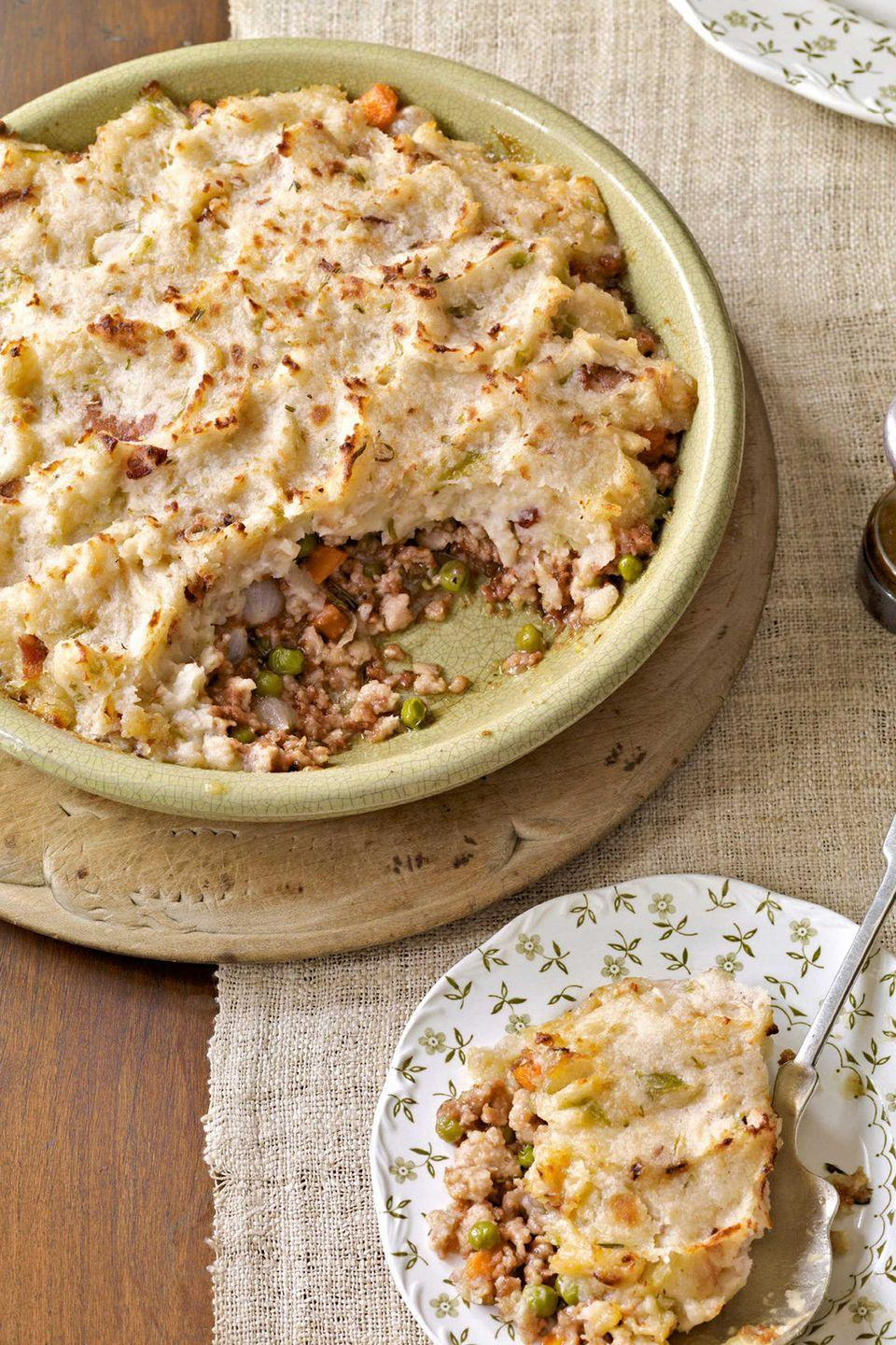 "<p>A great way to use up leftovers, Shepherd's Pie is the quintessential comfort food: mashed potatoes, veggies, and ground turkey. </p><p><strong><a href=""https://www.countryliving.com/food-drinks/recipes/a3008/shepherds-pie-recipe/"" rel=""nofollow noopener"" target=""_blank"" data-ylk=""slk:Get the recipe"" class=""link rapid-noclick-resp"">Get the recipe</a>.</strong></p>"