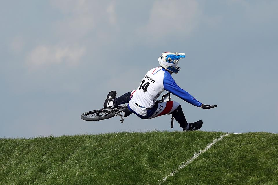Quentin Caleyron of France falls at the lip of a jump during the Men's BMX Cycling Quarter Finals on Day 13 of the London 2012 Olympic Games at BMX Track on August 9, 2012 in London, England. (Photo by Bryn Lennon/Getty Images)