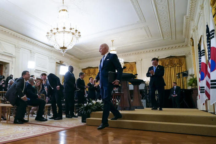 President Joe Biden and South Korean President Moon Jae-in depart after a joint news conference in the East Room of the White House, Friday, May 21, 2021, in Washington. (AP Photo/Alex Brandon)
