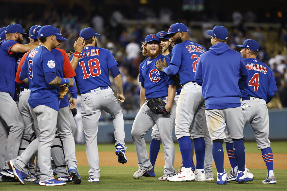 Craig Kimbrel of the Chicago Cubs celebrates with teammates
