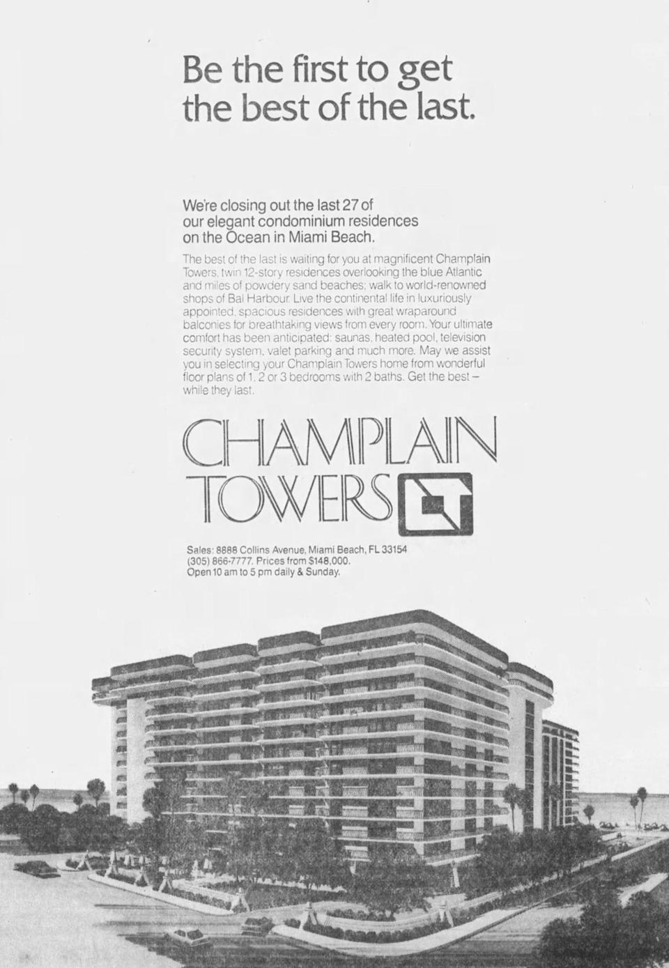 An advertisement for Champlain Towers appeared in the Miami Herald on July 20, 1980.