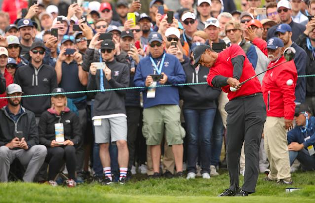 "<a class=""link rapid-noclick-resp"" href=""/pga/players/147/"" data-ylk=""slk:Tiger Woods"">Tiger Woods</a> plays a shot from the tenth tee during the final round of the 2019 U.S. Open at Pebble Beach Golf Links. (Getty Images)"