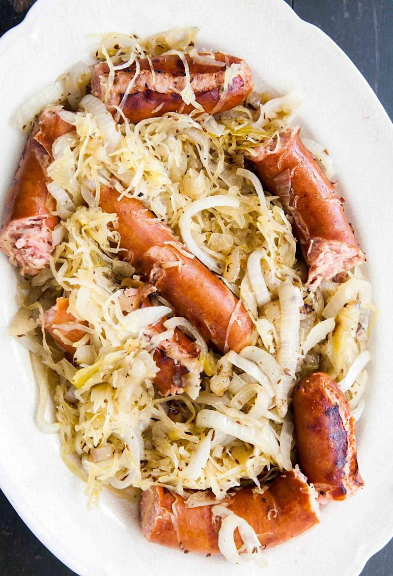"<strong>Get the <a href=""http://www.simplyrecipes.com/recipes/grilled_polish_sausage/"" target=""_blank"">Grilled Polish Sausage recipe</a> from Simply Recipes</strong>"