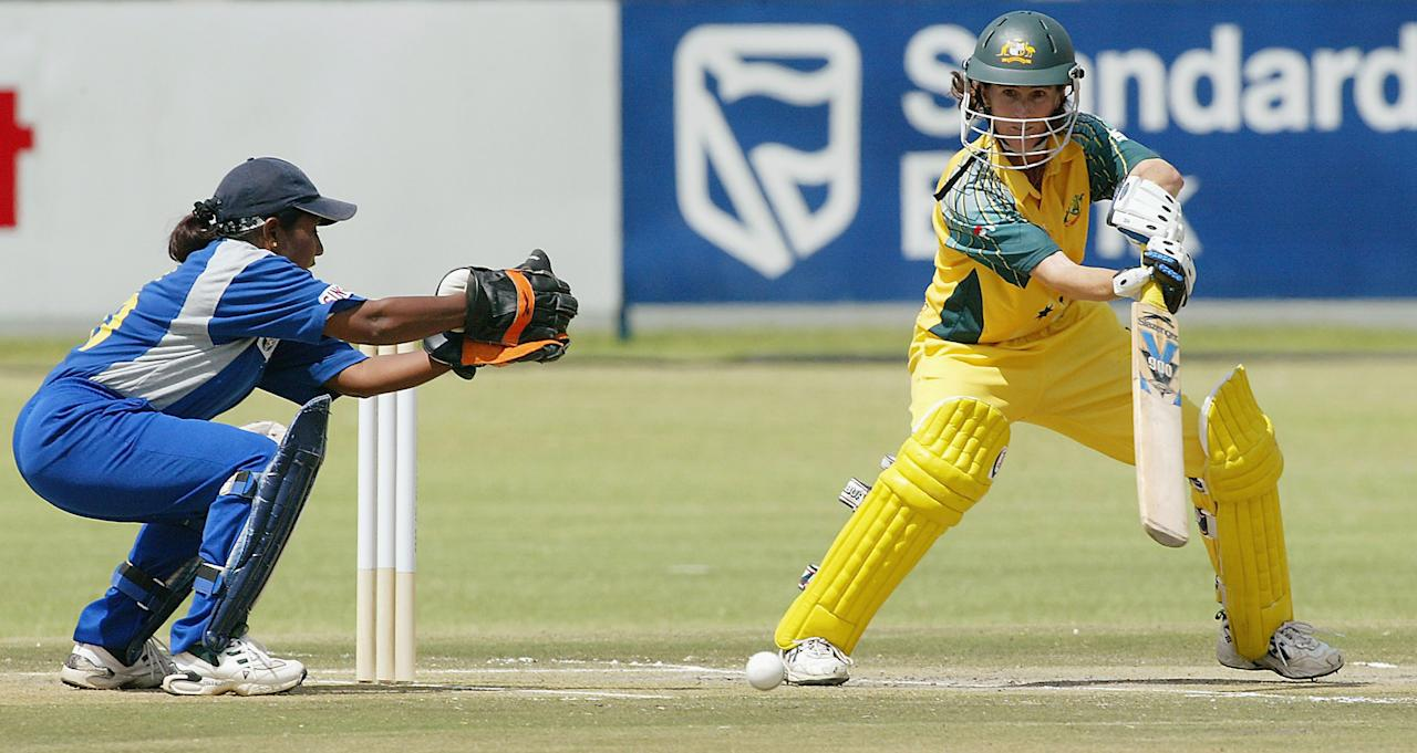 PRETORIA, SOUTH AFRICA - MARCH 30:  (TOUCHLINE IMAGES ARE AVAILABLE TO CLIENTS IN THE UK, USA AND AUSTRALIA ONLY)  Belinda Clark of Australia in action during the IWCC Women's World Cup match between Australia and Sri Lanka on March 30, 2005 at the L.C. Oval in Pretoria, South Africa. (Photo by Touchline/Getty Images)