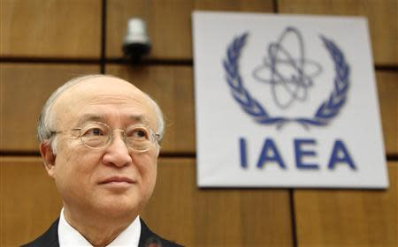 International Atomic Energy Agency (IAEA) Director General Yukiya Amano waits for the start of a board of governors meeting at the IAEA headquarters in Vienna November 28, 2013. REUTERS/Heinz-Peter Bader