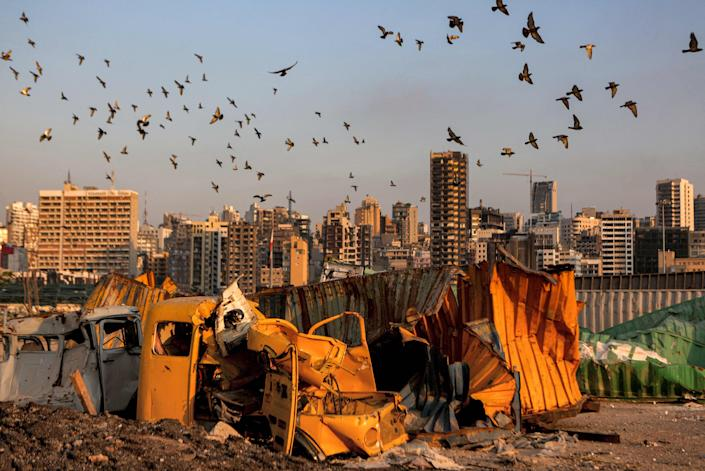Pigeons fly over destroyed containers at the port of Lebanon's capital Beirut (AFP via Getty Images)