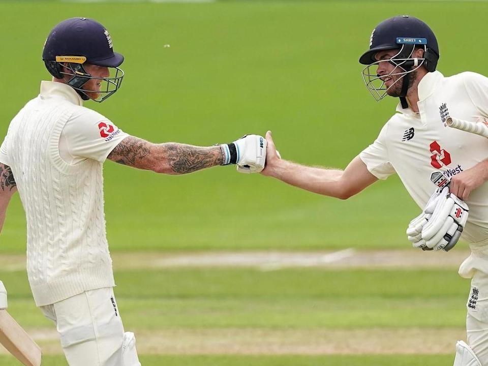 England captain Ben Stokes (left) and Dom Sibley had a partnership of 260 runs: Getty