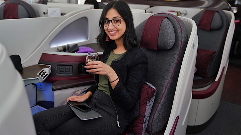 This is me on Qatar Airways' inaugural Doha to Lisbon flight. Europe, here I come! Photo: Yahoo Lifestyle
