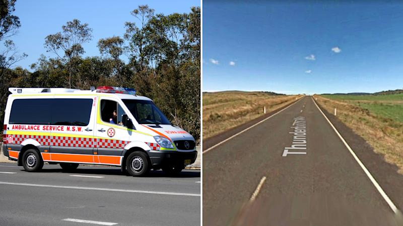 A NSW ambulance vehicle on the left and a Google Maps image of Thunderbolts Way, Nowendoc, where the crash happened.