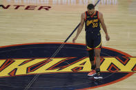Golden State Warriors' Stephen Curry looks down at the court during the second half of an NBA basketball Western Conference play-in game against Memphis Grizzlies in San Francisco, Friday, May 21, 2021. (AP Photo/Jed Jacobsohn)