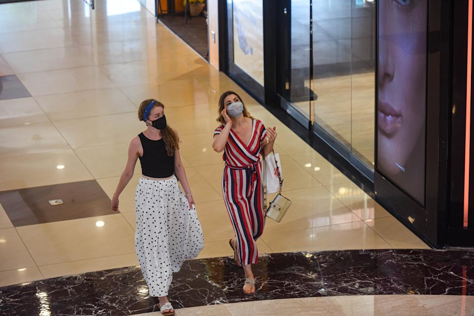 NEW DELHI, INDIA - JUNE 8: Visitors at Select Citywalk mall as it reopens to the public following lockdown relaxations in Saket, on June 8, 2020 in New Delhi, India. (Photo by Amal KS/Hindustan Times via Getty Images)