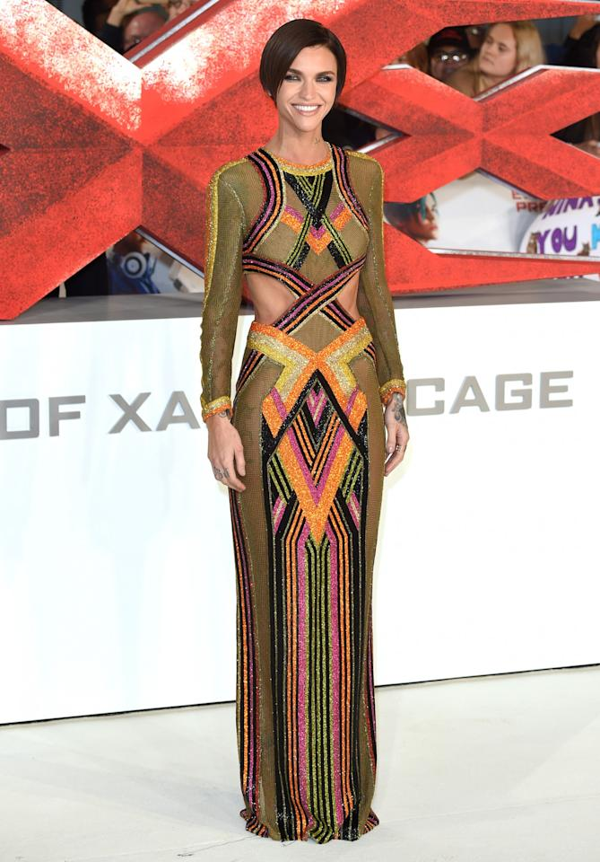 <p>Ruby started 2017 off with this amazing rainbow gown by Balmain. [Photo: Getty] </p>