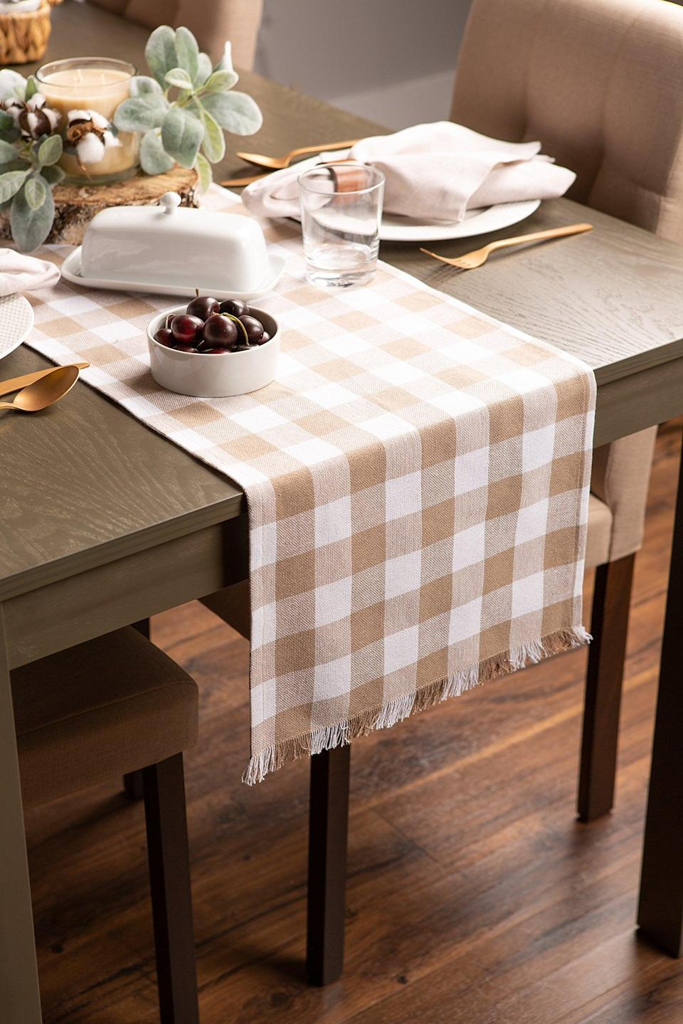 <p>This <span>Table Checkered Stone Runner</span> ($9) will help create the perfect table setting.</p>