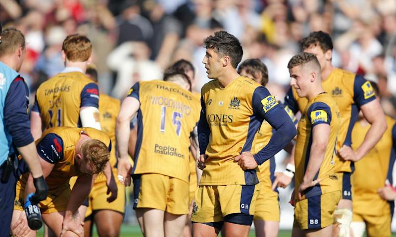 Gavin Henson and his team-mates react to Bristol's last-gasp defeat at Exeter