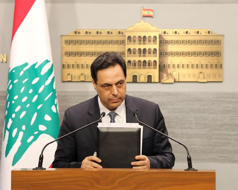 FILE PHOTO: Lebanon's Prime Minister Hassan Diab speaks during a televised address to the the nation at the governmental palace in Beirut