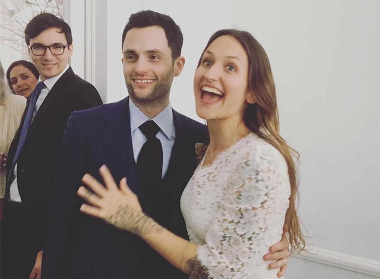 "<p>Former Gossip Girl star Penn Badgley married singer Domino Kirke — sister to Girls star Jemima Kirke and Mozart in the Jungle's Lola Kirke — in a small courthouse ceremony on Feb. 27, 2017. Lola shared a family snap from the courthouse on Instagram with the caption, ""When someone gets married in a courthouse, it's really an open invitation to everyone but the beautiful bride to explore all that fashion has to offer. Here, I try a look simply called 'Pants,' as Cassius goes for 'That Dude from #incubus' and Jemima experiments with 'Off to Therapy!' Congratulations @dominokirke. We love you.""</p>"