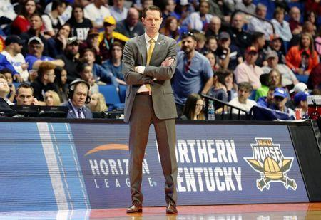 Mar 22, 2019; Tulsa, OK, USA; Northern Kentucky Norse head coach John Brannen looks on during the second half of their game against the Texas Tech Red Raiders in the first round of the 2019 NCAA Tournament at BOK Center. The Texas Tech Red Raiders won 72-57. Mandatory Credit: Brett Rojo-USA TODAY Sports