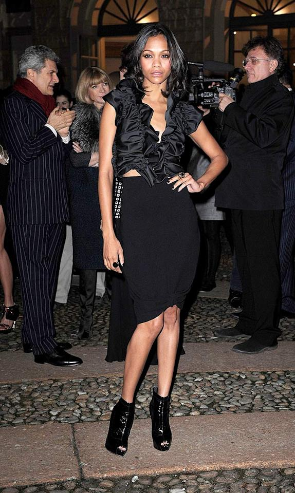 """""""Avatar"""" actress Zoe Saldana mixed it up in a ruched silk top and form-fitting skirt, both from Max Mara, and Brian Atwood patent booties at the <i>Vogue.it</i> party during Milan Fashion Week Tullio M. Puglia/<a href=""""http://www.gettyimages.com/"""" target=""""new"""">GettyImages.com</a> - February 26, 2010"""