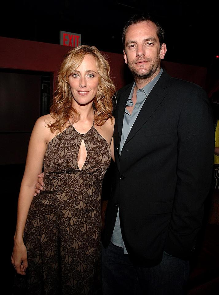 """Kim Raver (""""Lipstick Jungle,"""" """"24"""") sports an unflattering brown frock. Fortunately, she accessorizes with her handsome hubby, Manuel Boyer. Jamie McCarthy/<a href=""""http://www.wireimage.com"""" target=""""new"""">WireImage.com</a> - April 17, 2008"""