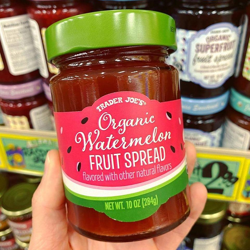 """<p>Prepare to want to use Trader Joe's new <a href=""""https://www.traderjoes.com/fearless-flyer/article/5393"""" rel=""""nofollow noopener"""" target=""""_blank"""" data-ylk=""""slk:Organic Watermelon Fruit Spread"""" class=""""link rapid-noclick-resp"""">Organic Watermelon Fruit Spread</a> on everything. From peanut butter and jelly sandwiches to topping your bowl of ice cream, the sweet and summery spread will add a refreshing touch to your bites. Each jar is $2.69, and it'll be available for as long as inventory lasts.</p>"""