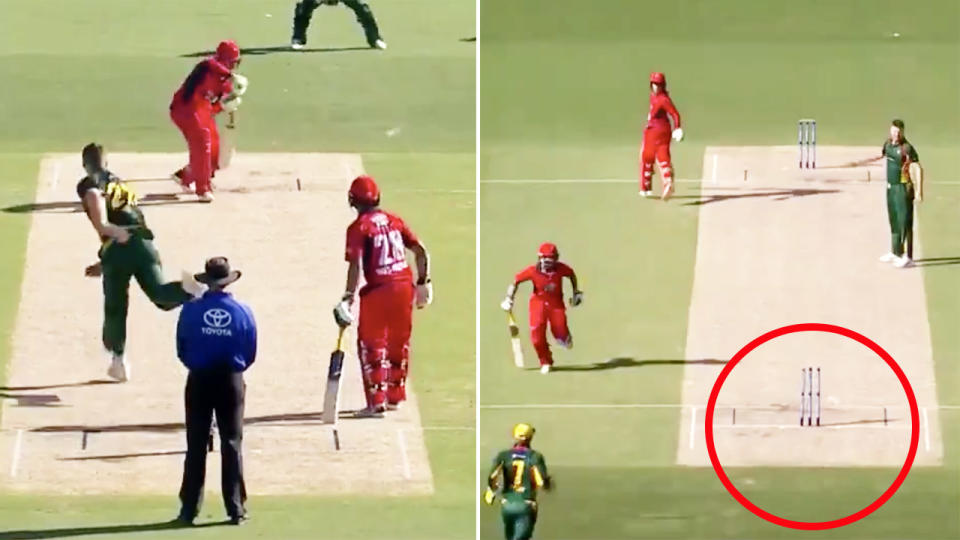 Jake Weatherald, pictured here being dismissed for a diamond duck in South Australia's clash with Tasmania.