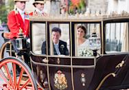 <p>When Eugenie and Jack left in a horse-drawn carriage to begin their new life as a married couple! </p>