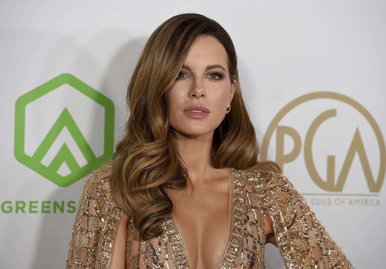 Kate Beckinsale arrives at the 2020 Producers Guild Awards at the Hollywood Palladium on Saturday, Jan. 18, 2020, in Los Angeles, Calif. (AP Photo/Chris Pizzello)