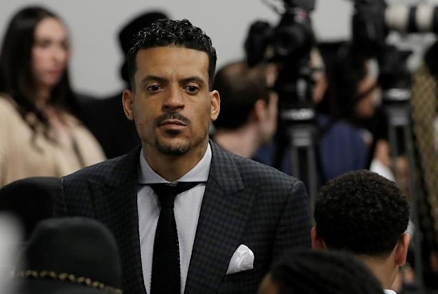 Former NBA basketball player Matt Barnes arrives at the funeral services for police shooting victim Stephon Clark at Bayside Of South Sacramento Church in Sacramento, California, U.S., March 29, 2018. Jeff Chiu/Pool via Reuters