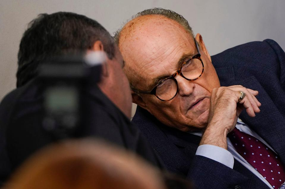 """Near the end of the film """"Borat 2,"""" which streamsFriday on Amazon Prime,Rudy Giuliani— lawyer to President Donald Trump and the former mayor of New York City — is caught ina questionable situation on camerawith an actress."""