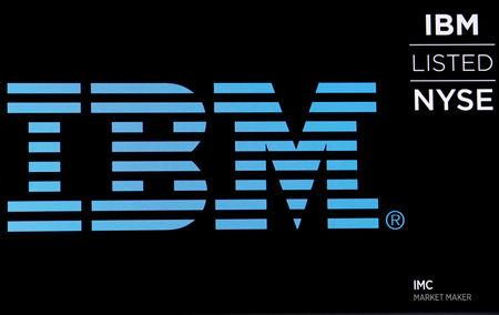 FILE PHOTO: The logo for IBM is displayed on a screen on the floor of the New York Stock Exchange (NYSE) in New York, U.S., June 27, 2018. REUTERS/Brendan McDermid