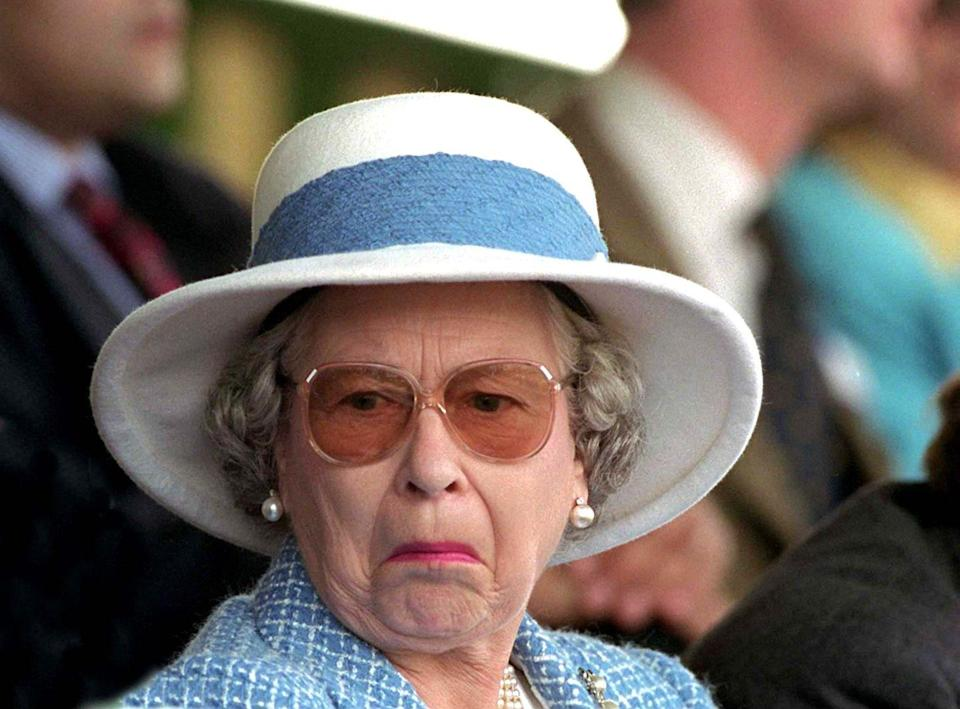 """<p>Someone had to have just asked <a href=""""https://www.goodhousekeeping.com/life/a22549500/queen-elizabeth-net-worth-prince-philip-the-crown/"""" rel=""""nofollow noopener"""" target=""""_blank"""" data-ylk=""""slk:the Queen"""" class=""""link rapid-noclick-resp"""">the Queen</a> a perplexing question at the 1997 Royal Windsor Horse Show to prompt a face like this. Whatever the inquiry was, the Queen clearly has no idea (or interest in) what that person was talking about. Onto the next ... </p>"""