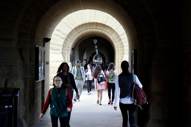 Students walk on campus at Stanford University in Palo Alto, California. (AP)