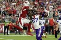 Minnesota Vikings cornerback Cameron Dantzler (27) breaks up a pass in the end zone intended for Arizona Cardinals wide receiver A.J. Green during the second half of an NFL football game, Sunday, Sept. 19, 2021, in Glendale, Ariz. (AP Photo/Rick Scuteri)