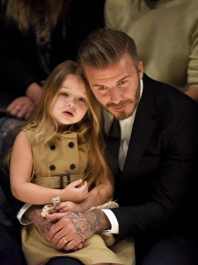 David Beckham and his daughter Harper Beckham. (Photo: Getty Images)