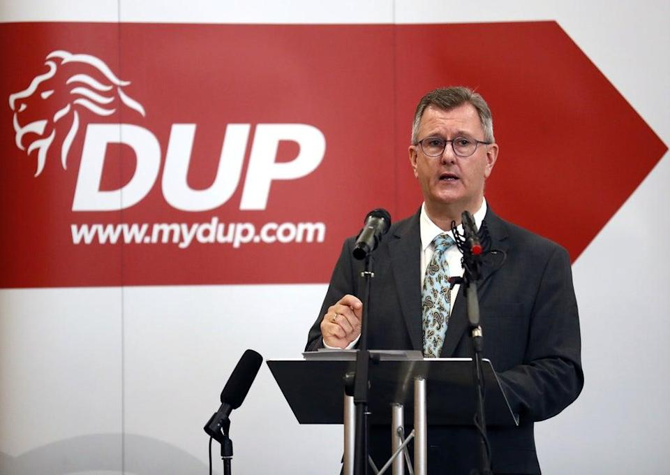 Democratic Unionist Party leader Jeffrey Donaldson delivers a key note speech on the Northern Ireland Protocol to senior party members last week (Peter Morrison/PA) (PA Wire)