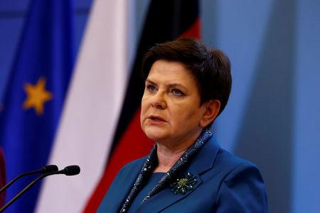 FILE PHOTO: Polish Prime minister Beata Szydlo speaks during a press conference with German Chancellor Angela Merkel in Warsaw