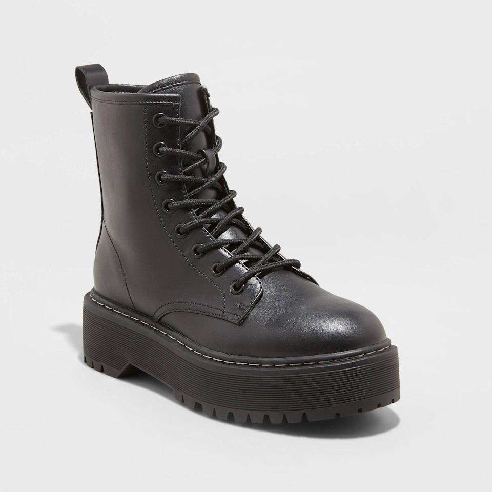 <p>These <span>A New Day Saylor Lace-Up Combat Boots</span> ($40) will bring an edge and some edge to your everyday looks, so you'll find yourself wearing them everywhere-from the office to spontaneous afterwork plans. They are perfect for all-day wear.</p>