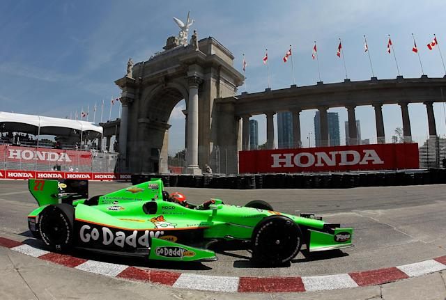 TORONTO, ON - JULY 06: James Hinchcliffe of Canada, drives his #27 Team GoDaddy.com Andretti Autosport Chevrolet Dallara during practice for the IZOD INDYCAR Series Honda Indy Toronto on July 6, 2012 in Toronto, Canada. (Photo by Jonathan Ferrey/Getty Images)