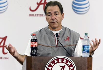 Nick Saban, presumably in reaction to a question about what a five-way tie in the SEC West would be like. (AP)