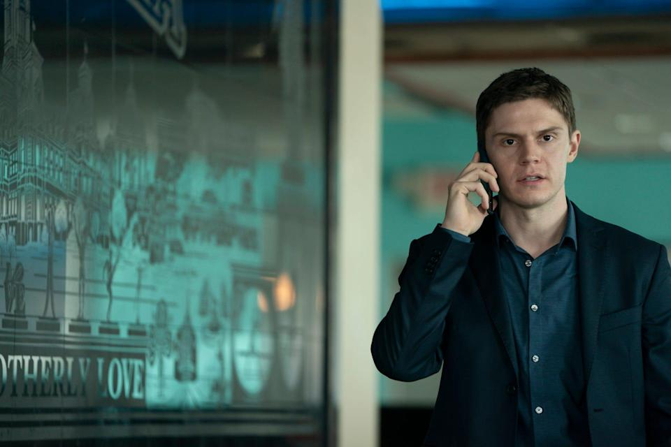"""Evan Peters as Detective Colin Zabel on """"Mare of Easttown."""""""