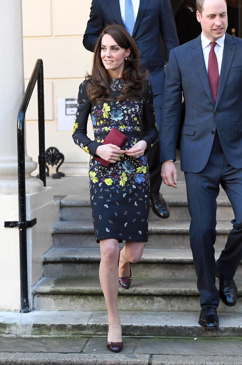 <p><strong>When:</strong> January 17, 2017 <strong>Where:</strong> A briefing for the Heads Together campaign in London <strong>Wearing:</strong> Erdem Evita Dress and Mulberry clutch <strong>Get the Look:</strong> ASOS Maya Petite Floral 3D Embellished Midi Dress, $151; <span>asos.com</span> Erdem Reiko Haso Night Ponte Jersey Dress, $833; <span>fwrd.com </span>Mulberry Wallet Clutch, $725; <span>mulberry.com </span>Salvatore Ferragamo Elga Pumps, $310; <span>farfetch.com </span>Chloé Darcey Faux Pearl Earrings, $250; <span>matchesfashion.com</span> </p>