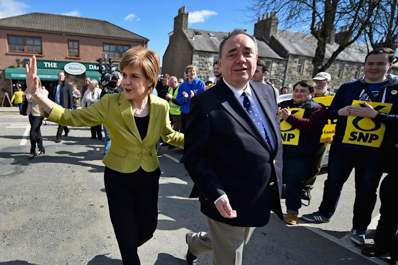 INVERURIE, SCOTLAND - APRIL 18: SNP Leader Nicola Sturgeon and Alex Salmond campaign in the Gordon constituency on April 18, 2015 in Inverurie, Scotland. The First Minister joined Alex Salmond to highlight the fact that only the SNP represent all parts of Scotland. (Photo by Jeff J Mitchell/Getty Images)