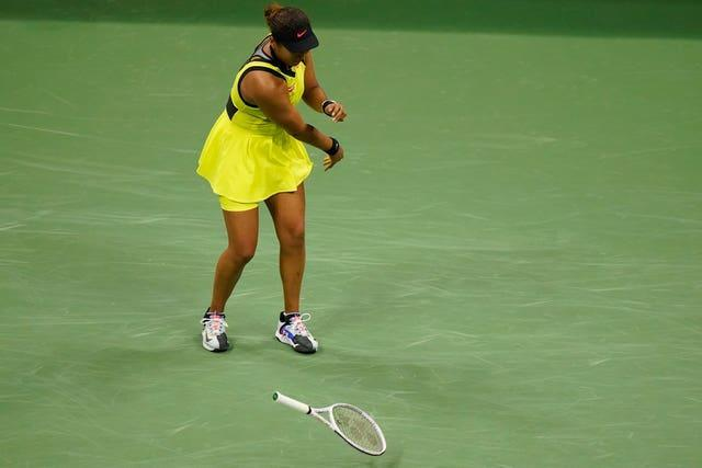 The Japanese lost her cool during the second-set tiebreak