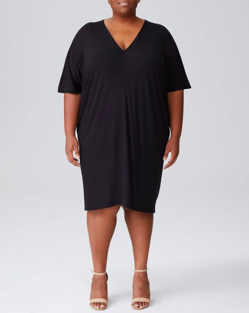 """Don't sleep on the V-neck dress. For anyone who's taller or prefers a longer fit, this option can be easily layered over leggings or, of course, worn sans pants. $80, Universal Standard. <a href=""""https://www.universalstandard.com/products/teresa-v-neck-dress-black"""" rel=""""nofollow noopener"""" target=""""_blank"""" data-ylk=""""slk:Get it now!"""" class=""""link rapid-noclick-resp"""">Get it now!</a>"""