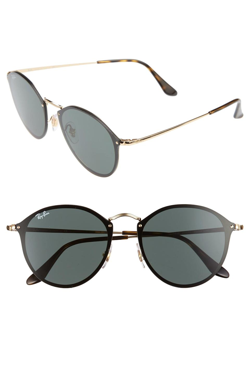 <p>Bright summer days call for wearing the <span>Ray-Ban Blaze Round Sunglasses</span> ($175) to protect your eyes.</p>