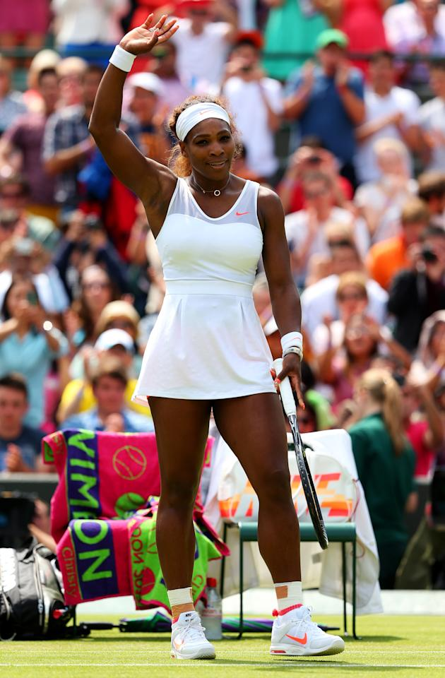LONDON, ENGLAND - JUNE 27: Serena Williams of the United States of America celebrates match point during the Ladies' Singles second round match against Caroline Garcia of France on day four of the Wimbledon Lawn Tennis Championships at the All England Lawn Tennis and Croquet Club on June 27, 2013 in London, England. (Photo by Julian Finney/Getty Images)
