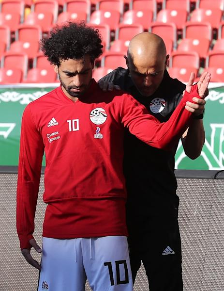 Egypt forward Mohamed Salah takes part in a training session at the Akhmat Arena stadium in Grozny