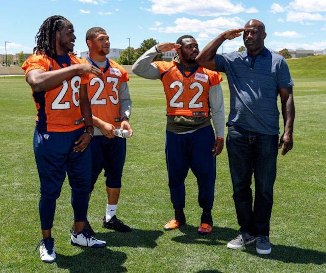 Two of these players are NFL legends. The other two led the Broncos in rushing last season. (Photo by John Leyba/The Denver Post via Getty Images)