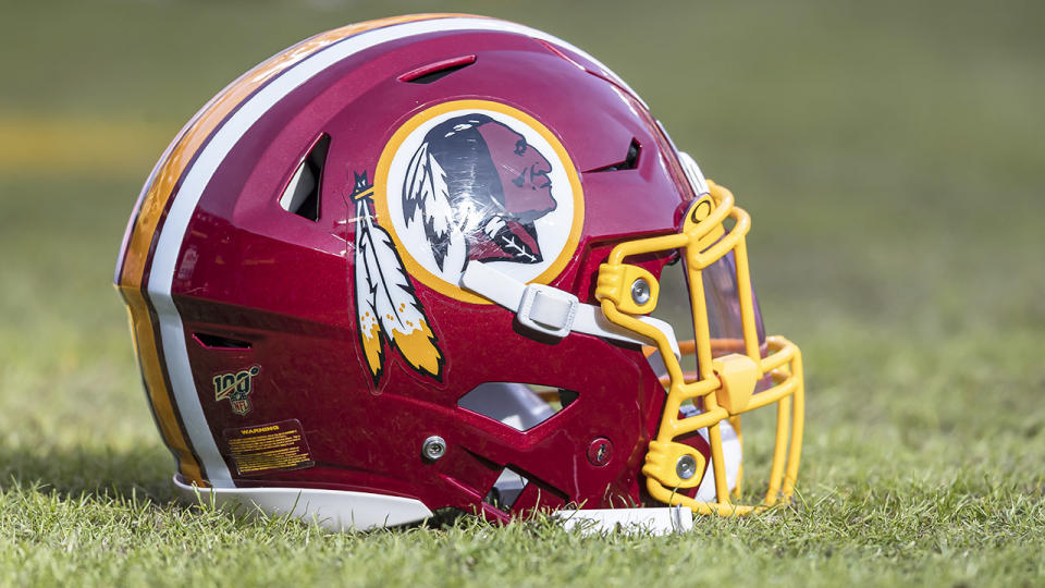A Washington Redskins helmet, pictured here on the field at FedExField in 2019.